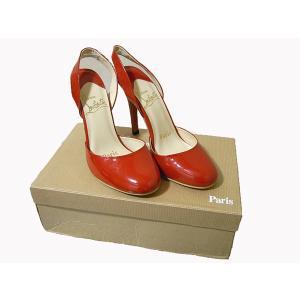 ルブタン 靴 パテント バックストラップ ヒールパンプス 37|e78nakaya