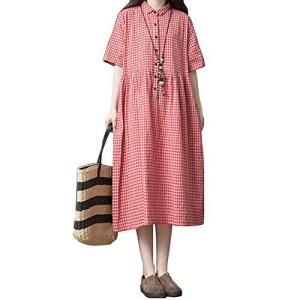ロングワンピース レディース 半袖 チェックワンピース 綿麻 シャツ ドレス 体型カバー ゆったり 大きいサイズ|ea-s-t-store