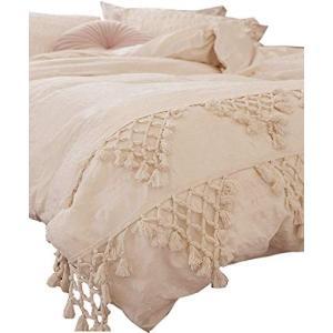 FLBer房タッセル布団カバーラティスBoho寝具、フルクイーン、86 inx90in|ea-s-t-store