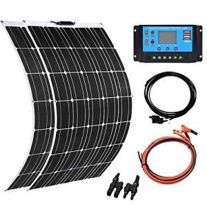 XINPUGUANG ソーラーパネル 2枚の100w 200w 12V キット充電器 太陽光発電システム 単結晶 20A コントローラー RV 車 船舶|ea-s-t-store