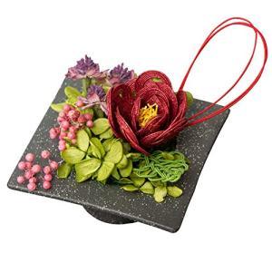 大阪長生堂 敬老の日 花ギフト フラワーアレンジメント 水引フラワー 縁起物 お祝い ケース付き 赤 結葉 ea-s-t-store