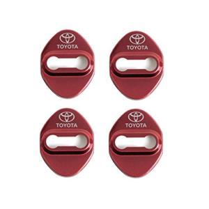 TOYOTA トヨタ汎用 カローラスポーツ ドアストライカー ステンレスカバー レッドメタリック 4個セット トヨタ ハ|ea-s-t-store