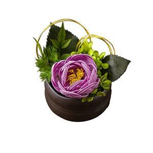 大阪長生堂 フラワーアレンジメント 敬老の日 ギフト 水引フラワー 縁起物 お祝い 箱入り 結音 紫 ea-s-t-store
