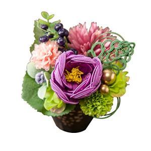大阪長生堂 フラワーアレンジメント 敬老の日 ギフト 水引フラワー 縁起物 お祝い ケース付き 結香 紫 ea-s-t-store