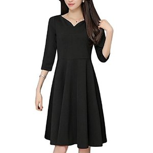 [ルナー ベリー] ドレス キレイめ ブラック ワンピース 無地 膝丈 七分袖 上品 バレリーナネック レディース 4408 ea-s-t-store