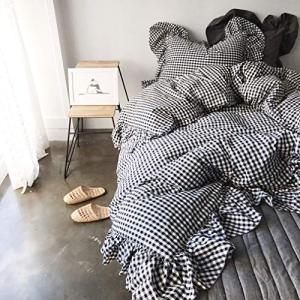 ギンガムチェック柄寝具カバー/綿100%掛け布団カバー シングル・枕カバー2枚 ea-s-t-store