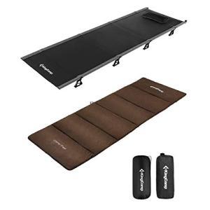 KingCamp 耐荷重120kg アウトドアベッド 折り畳み式キャンプ コット キャンプマットセット 枕と収納バッグ付き ハ|ea-s-t-store