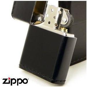 【ZIPPO】 ジッポー 革巻き 「コードバン」 ブラック(黒)  ※フリント式オイルライター