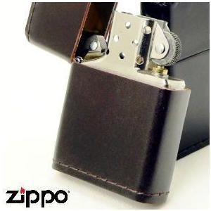 【ZIPPO】 ジッポー 革巻き 「コードバン」 ブラウン(茶) ※フリント式オイルライター