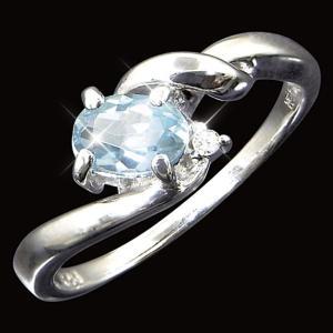 レビューで次回2000円オフ 直送 アクアマリン&ダイヤリング 指輪 11号 ファッション リング・指輪 天然石 ダイヤモンド|eagleeyeshopping