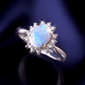 レビューで次回2000円オフ 直送 大粒オパール&ダイヤリング 指輪 11号 ファッション リング・指輪 天然石 ダイヤモンド|eagleeyeshopping