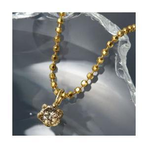 レビューで次回2000円オフ 直送 K18シャンパンダイヤモンドペンダント/ネックレス ファッション ネックレス・ペンダント 天然石 ダイヤモンド|eagleeyeshopping