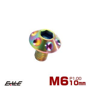 64チタン合金(TC4 GR5) M6×10mm P=1.00 頭部径14mm ホールヘッド ボタン...