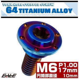 M6×17mm P1.0 円筒部直径10mm 64チタン 段付きフランジボルト トルクス穴 ホールヘ...