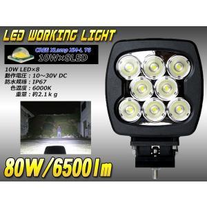 80W 6500lm CREE XM-L LEDワークライト作業灯 防水12V/24V P-347