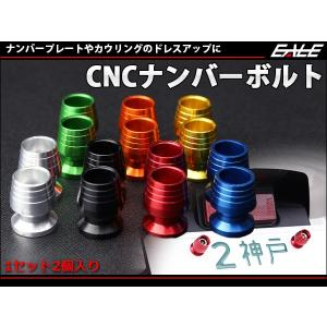 汎用 M6 アルミ CNC ナンバー ボルト 2個入り シルバー/ブラック/レッド/ブルー/グリーン...