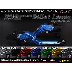 Ninja250/R/SL Z250/SL Z125 PRO Dトラ他 可倒&角度&伸縮 調整機能付 アルミ削り出し ビレット レバー 左右セット|eale