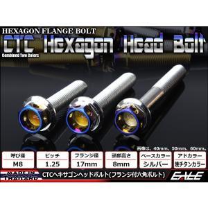 ヘキサゴンヘッドボルト CTC フランジ付六角ボルト M8×30mm ステンレス シルバー/焼チタンカラー|eale