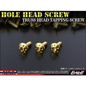 M5×16mm ホールヘッドネジ タッピングネジ ステンレス 削り出し トラス頭 カウルやパネルなどに ゴールド TC0068|eale