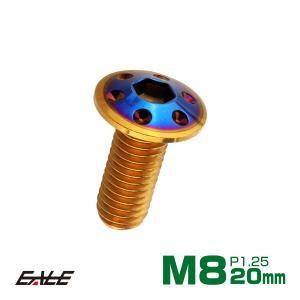 ブレーキ ディスクローター ボルト ヤマハ用 M8×20mm P=1.25 ステンレス ホールヘッド ゴールド&焼チタンカラー TD0336|eale