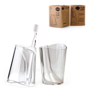 QUALY フリップカップ 歯磨き コップ 歯ブラシスタンド 歯ブラシホルダー クリア おしゃれ かわいい|eameschair-y