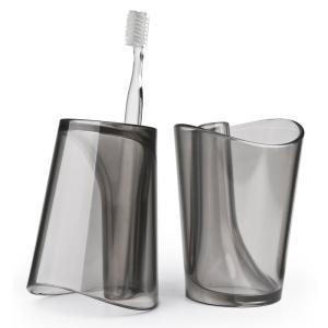 QUALY フリップカップ 歯磨き コップ 歯ブラシスタンド 歯ブラシホルダー ブラック おしゃれ かわいい|eameschair-y
