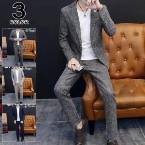 2ピーススーツ メンズ 礼服 結婚式 カジュアルスーツ スーツセットアップ ビジネススーツ 紳士 細...