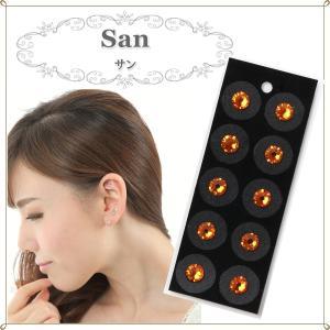 耳つぼジュエリー サン 耳つぼシール チタン粒 スワロフスキー 単色 10粒 シート 耳ツボ 赤系 オレンジ系|ear-heartdrop