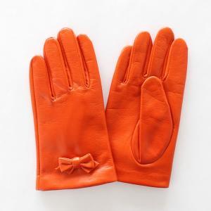 子供用革製ファッション手袋(グローブ)7〜8才児用 オレンジ Junior Sheep Skin Leather Glove|earth-shop