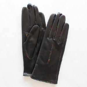 レディース(婦人)羊革手袋(グローブ)グラデーションステッチ ブラック 「美指-UTSUKUSHI(ウツクシ)」シリーズ|earth-shop