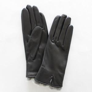 レディース(婦人)羊革手袋(グローブ)ラビットファー ブラック 「美指-UTSUKUSHI(ウツクシ)」シリーズ|earth-shop