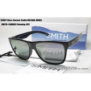 カスタム偏光サングラス スミス SMITH Lowdown XL2 Black ローダウン/ COMBEX Polawing SPX151 CR 4C HMM ディープグレイ88 SILミラー|eass