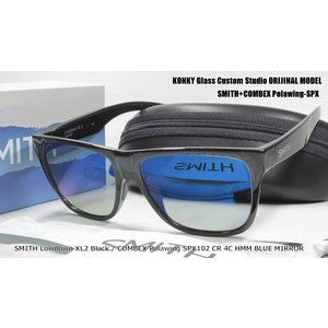 スミス カスタム偏光サングラス SMITH Lowdown XL2  Black ローダウン/ COMBEX Polawing SPX102 CR 4C HMM フィールドグレイBLUEミラー|eass