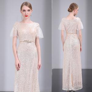 ロングドレス / 演奏会用ドレス 舞台衣装 高級パーティードレス / 袖付きロングドレス|east-beauty
