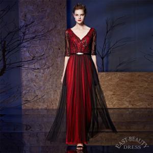 ロングドレス 大きいサイズ 4XLまで 演奏会用ドレス 発表会ドレス ステージ衣装 パーティードレス デコルテ Vカット 五分袖ドレス|east-beauty