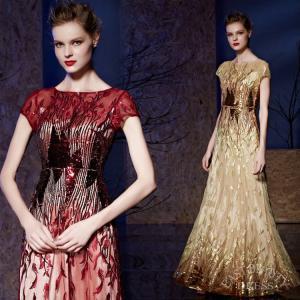 ロングドレス 大きいサイズ 4XLまで 演奏会用ドレス 発表会ドレス ステージ衣装 パーティードレス ボートネック スパンコール刺繍 フレンチスリーブドレス|east-beauty