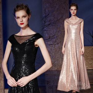 ロングドレス 大きいサイズ 4XLまで 演奏会用ドレス 発表会ドレス ステージ衣装 パーティードレス 三色展開 スパンコール生地 シンプルドレス|east-beauty