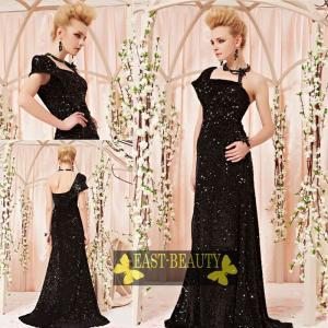 ロングドレス / ウェディング 結婚式 披露宴 演奏会用 ステージ衣装 パーティードレス / ブラック 黒ドレス east-beauty