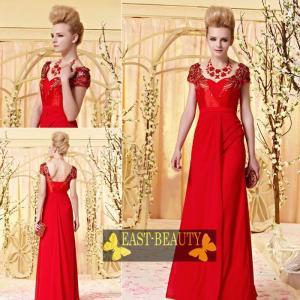 ロングドレス / ウェディング 結婚式 披露宴 演奏会用 ステージ衣装 パーティードレス / 赤色袖付きドレス east-beauty
