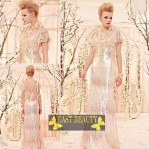 ロングドレス / ウェディング 結婚式 披露宴 演奏会用 ステージ衣装 パーティードレス / ブリリアントシルバーロングドレス east-beauty