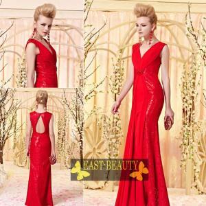 ロングドレス / ウェディング 結婚式 披露宴 演奏会用 ステージ衣装 パーティードレス / マーメイドライン赤ドレス east-beauty