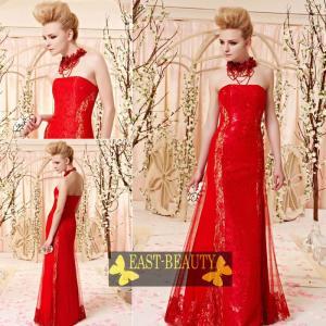 ロングドレス / ウェディング 結婚式 披露宴 演奏会用 ステージ衣装 パーティードレス / 赤色ビスチェドレス|east-beauty