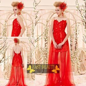 ロングドレス / ウェディング 結婚式 披露宴 演奏会用 ステージ衣装 パーティードレス / ミニ丈シースルーロングドレス|east-beauty