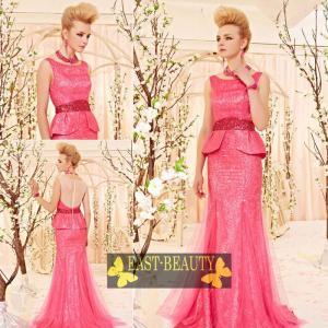 ロングドレス / ウェディング 結婚式 披露宴 演奏会用 ステージ衣装 パーティードレス / ピンク色 ノースリーブドレス east-beauty