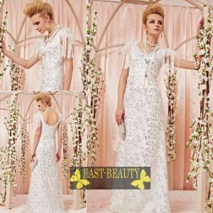 ロングドレス / ウェディング 結婚式 披露宴 演奏会用 ステージ衣装 パーティードレス / Aライン白色ロングドレス east-beauty