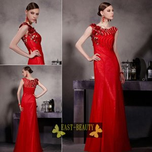 ロングドレス / 高級ドレス 演奏会 発表会 コンサート ステージ衣装 パーティードレス / 刺繍 ビーズ 美しい赤ドレス|east-beauty