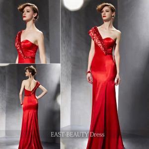 ロングドレス / 演奏会ドレス カラードレス 声楽・ピアノコンサート パーティー 結婚式 / マーメイドライン 赤色 ワンショルダー|east-beauty