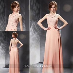 ロングドレス / 演奏会ドレス カラードレス 声楽・ピアノコンサート パーティー 結婚式 / デコルテデザイン ピンク|east-beauty