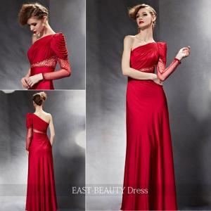ロングドレス / 演奏会ドレス カラードレス 声楽・ピアノコンサート パーティー 結婚式 / 赤色 レッド光沢 すっきりライン|east-beauty