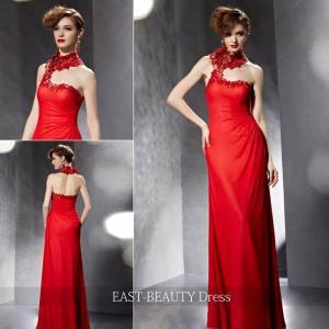 ロングドレス / 演奏会ドレス カラードレス 声楽・ピアノコンサート パーティー 結婚式 / 赤色 レッド スレンダーライン|east-beauty